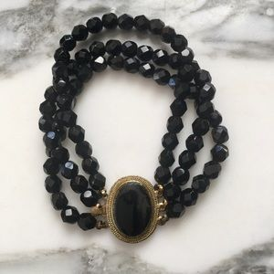 Vintage Black Glass Bracelet